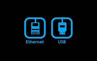 Ethernet and USB connections