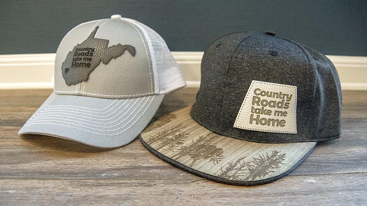 laser cut and engraved leather hat patches
