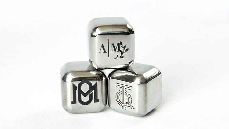 laser marked stainless steel ice cubes