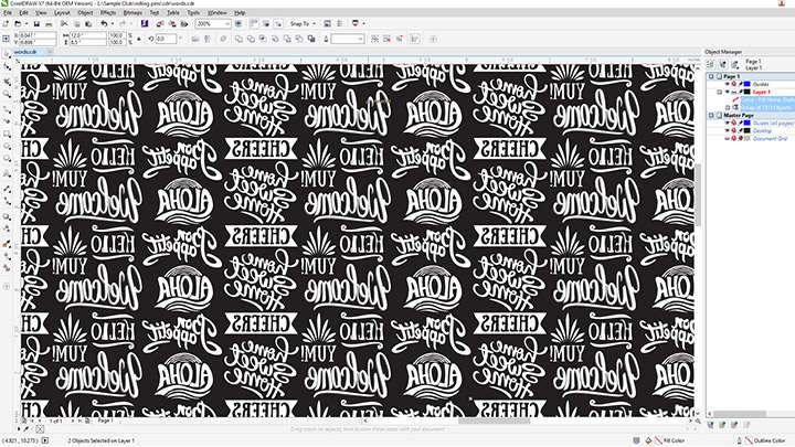Screenshot des Nudelholzdesigns in Corel Draw