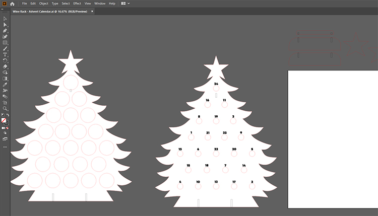 Dateien für den Adventskalender in Illustrator